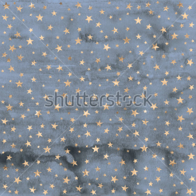 Adesivo Twinkle star pattern in rose gold metallic foil overlaid on denim blue hand painted watercolor texture.
