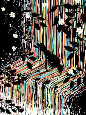Adesivo Uccello e cascata