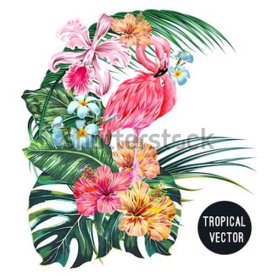 Adesivo Uccello fenicottero rosa, fiori tropicali, foglie di palma, monstera, plumeria, ibisco, fiore di orchidea, composizione di foglie di giungla. Vector l'illustrazione botanica delle piante esotiche
