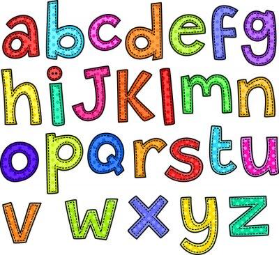 Adesivo Un Doodle stile stitch set di mano disegnato lettere di alfabeto.