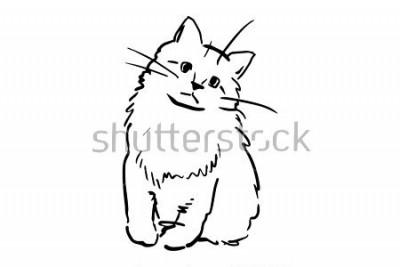 Adesivo Un gattino seduto. Schizzo vettoriale in bianco e nero. Disegno semplice a sfondo bianco.