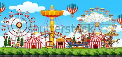 Adesivo Un'illustrazione di scena del parco a tema