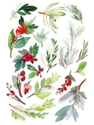 Adesivo Un insieme di elementi floreali di Natale su uno sfondo bianco