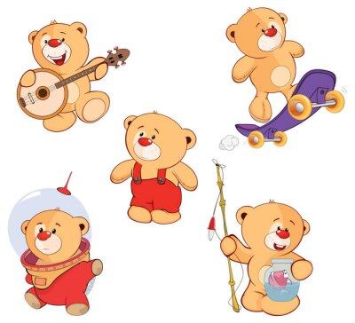 Adesivo Una serie di orsi cartone animato