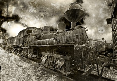 Adesivo Una vecchia ruggine locomotiva a vapore d'epoca
