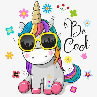 Adesivo Unicorno carino con occhiali da sole