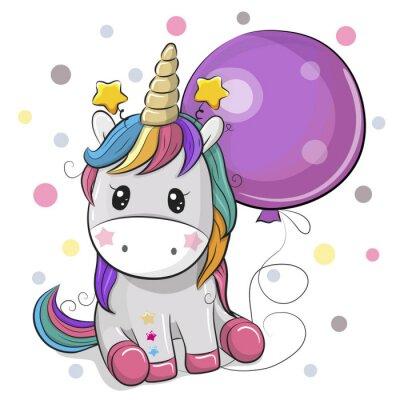 Adesivo Unicorno sveglio del fumetto con l'aerostato