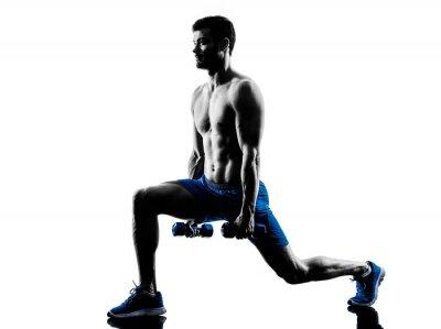 Adesivo uomo che esercitano il fitness lancia pesi esercizi silhouette