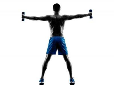 Adesivo Uomo che si esercita pesi di forma fisica silhouette