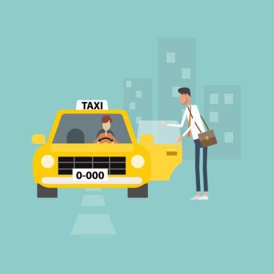 Adesivo uomo d'affari di prendere un taxi andare a lavorare affari in città