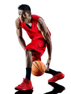 Adesivo uomo giocatore di basket silhouette isolato