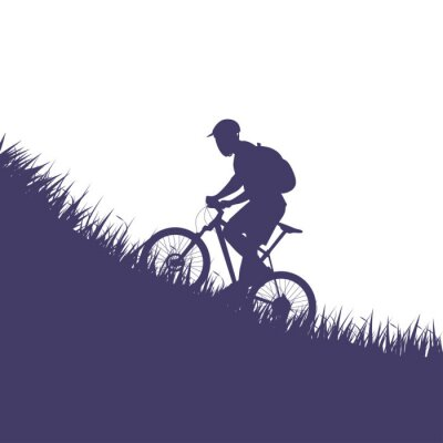 Adesivo uomo in silhouette di bicicletta