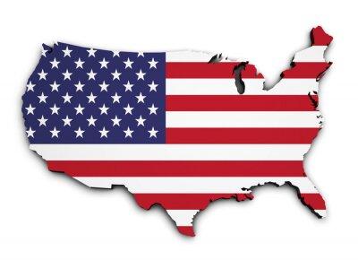 Adesivo USA Flag Map 3d Shape