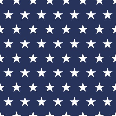 Adesivo USA flag seamless pattern. White stars on a blue background. Memorial day