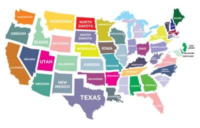 Adesivo USA mappa con gli Stati