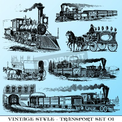 Adesivo various Vintage-style illustrations  - ancient transport set