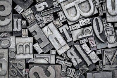 Adesivo vecchi blocchi di stampa tipografica in metallo
