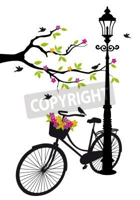 Adesivo vecchia bicicletta con lampada, fiori e alberi