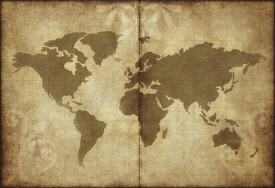 Adesivo vecchia mappa del mondo pergamena