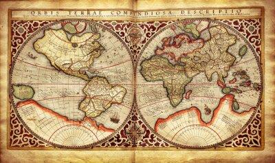 Adesivo Vecchia mappa del mondo, stampato in 1587