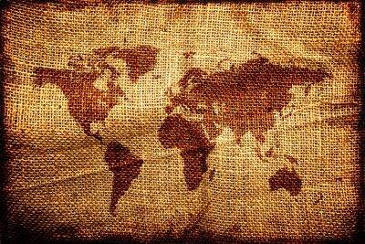 Adesivo Vecchia mappa del mondo su hesian sack texture