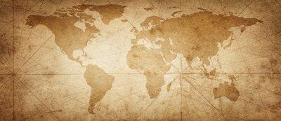 Adesivo Vecchia mappa del mondo su uno sfondo di pergamena antica. Stile vintage. Elementi di questa immagine forniti dalla NASA.
