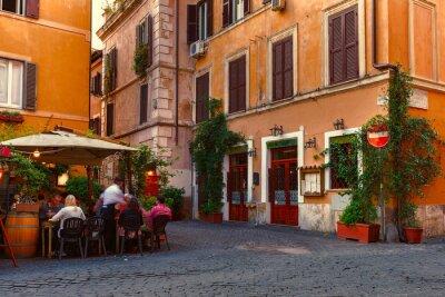 Adesivo Vecchia via in Trastevere a Roma, Italia