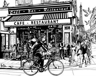 Adesivo Vecchio caffè a Parigi