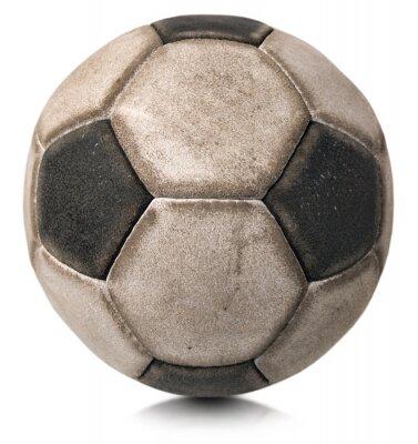 Adesivo Vecchio pallone da calcio isolato su bianco / Dettaglio di una vecchia pallone da calcio in bianco e nero isolato su sfondo bianco