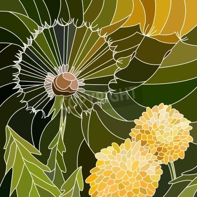 Adesivo Vector astratto mosaico con grandi cellule del gruppo di dente di leone sul verde.