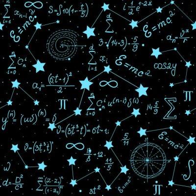 Adesivo Vector astrofisica vettoriale matematico senza soluzione di continuità con formule, cifre e calcoli scritti a mano sullo sfondo delle stelle. Struttura scientifica spazio senza fine