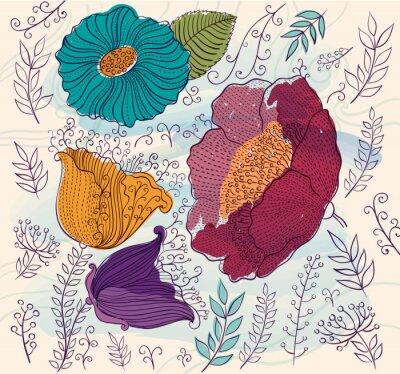 Adesivo Vector background con bellissimi fiori colorati e foglie