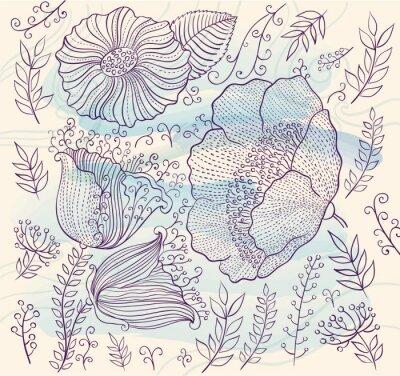 Adesivo Vector background con bellissimi fiori e foglie