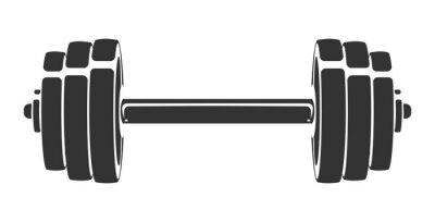 Adesivo Vector disegnati a mano silhouette di manubri isolato su sfondo bianco. Modello per icona dello sport, simbolo, logo o altro marchio. Illustrazione retrò moderna.