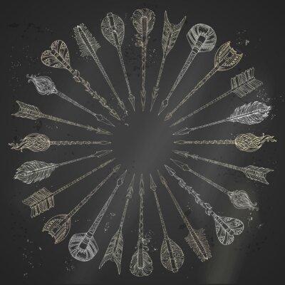 Adesivo Vector gesso frecce etnici cornice rotonda.