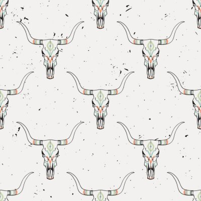 Adesivo Vector grunge seamless con toro cranio e ornamento etnico