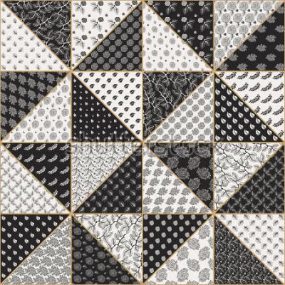 Adesivo Vector il modello astratto senza cuciture del rappezzatura dai triangoli beige e neri chiari con gli ornamenti floreali di pizzo, i fiori e le foglie stilizzati della rosa. Linea sottile contorno dora