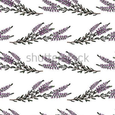 Adesivo Vector il modello senza cuciture con i rami di heather disegnati a mano. Bellissimi elementi di florida, perfetti per stampe e motivi.
