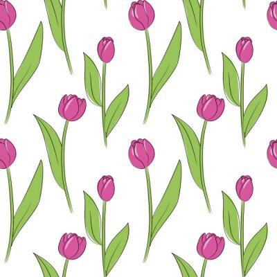 Adesivo Vector il modello senza cuciture dei fiori semplici del tulipano rosa