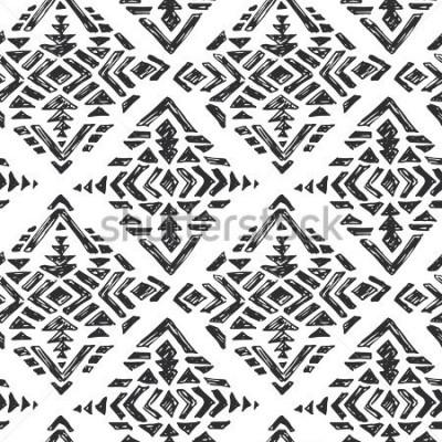 Adesivo Vector il modello senza cuciture etnico disegnato a mano con gli elementi astratti tribali nello stile di schizzo bianco nero di scarabocchio