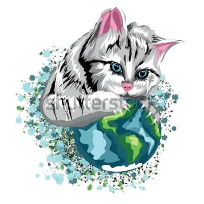 Adesivo Vector il mondo ecologico del gatto con il pianeta catlike e le macchie di neve, il gatto grigio con gli occhi azzurri.
