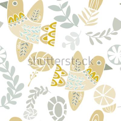 Adesivo Vector il reticolo folclorico senza cuciture degli uccelli e i fiori di vettore su un fondo bianco. Ideali per l'artigianato, tessuti, carta da imballaggio, carta da parati