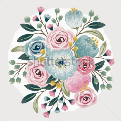 Adesivo Vector illustration of a beautiful floral bouquet with spring flowers for invitations and birthday cards