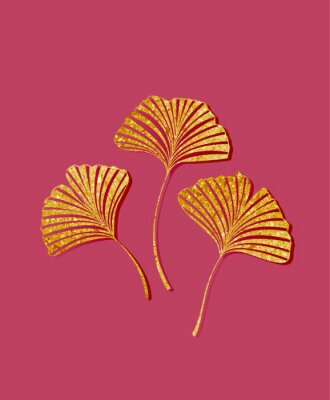 Adesivo Vector illustration of ginkgo biloba leaves. Background with golden leaves. Ginkgo branches for invitations