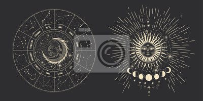 Adesivo Vector illustration set of moon phases. Different stages of moonlight activity in vintage engraving style. Zodiac Signs