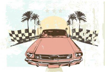 Adesivo Vector illustration - vettura da corsa ad alta velocità su sfondo grunge