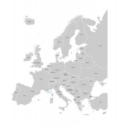 Adesivo Vector illustration with simplified map of Europe with blue contour of Monaco. Grey silhouettes, white outline of states' border