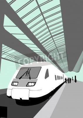 Adesivo Vector immagine di un moderno treno ad alta velocità presso la stazione ferroviaria