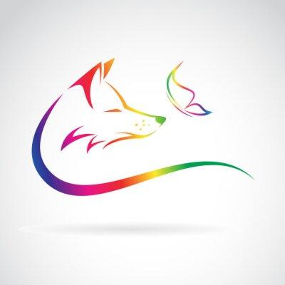 Adesivo Vector immagine di volpe e farfalla su sfondo bianco