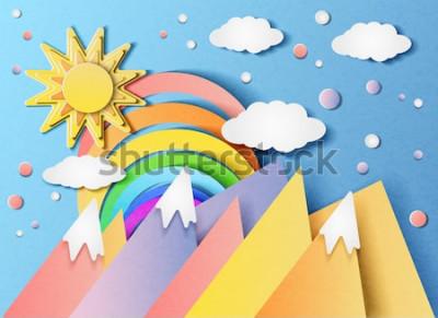 Adesivo Vector l'illustrazione di bello paesaggio con il sole, l'arcobaleno, le nuvole e le montagne. Nello stile della carta tagliata.